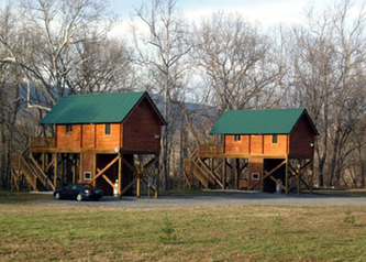 Winter view of cabins